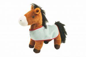 Grtand cheval en peluche avec couverture