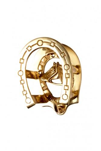 Porte Bridon Fer et tête de cheval en laiton - Materiel d'écurie