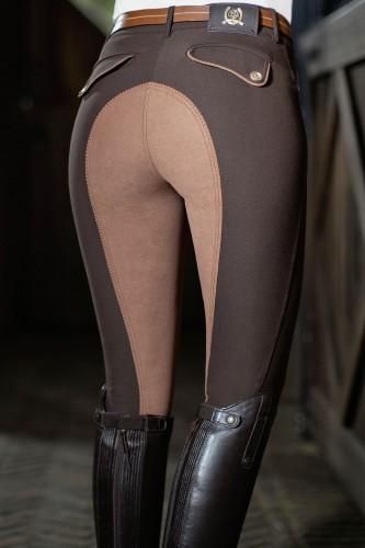 Pantalon 38 ROMA Pipping, fond peau - Pantalons d'équitation à fond intégral
