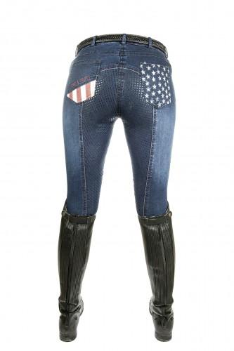 Pantalon Denim Juniors STARS & STRIPES - Pantalons d'équitation à basanes enfant