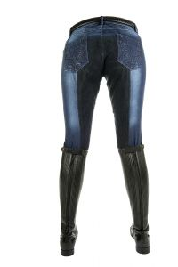 Pantalon Denim FLOWER CRYSTAL fond peau