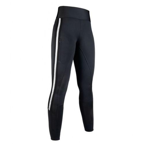 Leggings Silver Stripe Style, fond silicone - Pantalons d'équitation à fond intégral