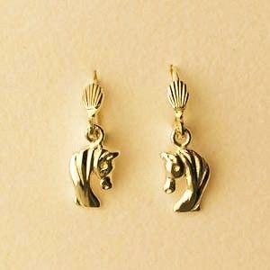 """Boucles d'oreilles plaqué-or brisures """"tête de cheval"""""""