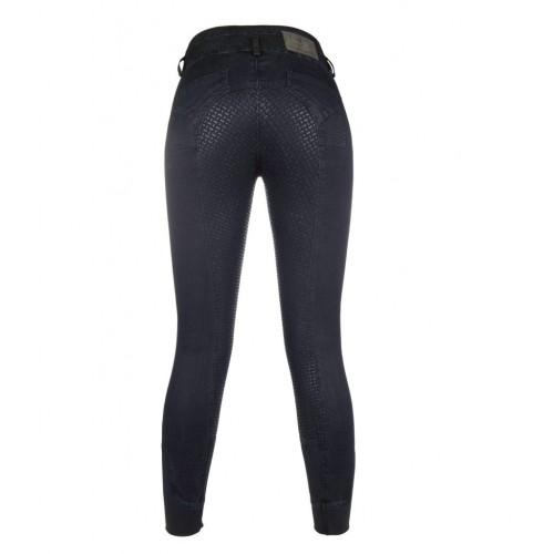 Pantalon equitation VELLUTO JEANS fond silicone - Collection Cavallino Marino by HKM