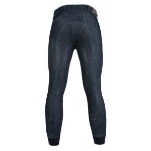Pantalon équitation homme denim fond silicone
