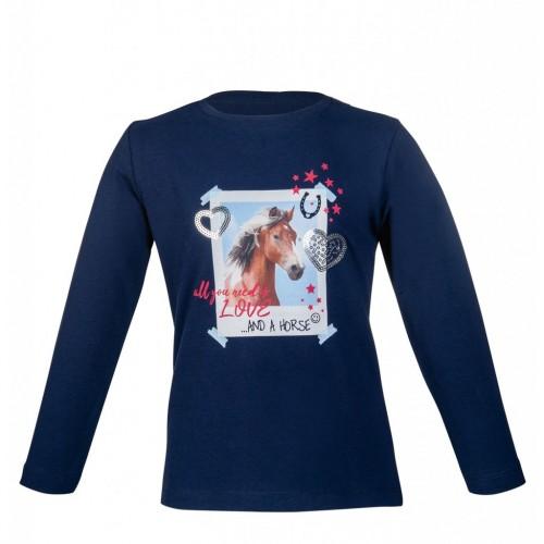 T-shirt équitation manches longues Navy Horse - T-shirts & polos d'équitation enfant