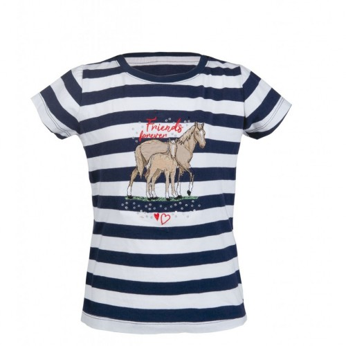 T-Shirt équitation Striped Navy - T-shirts & polos d'équitation enfant