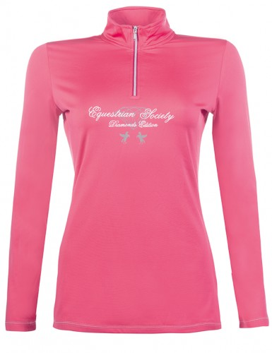 Polo technique DIAMONDS PINK STAR - T-shirts & polos d'équitation